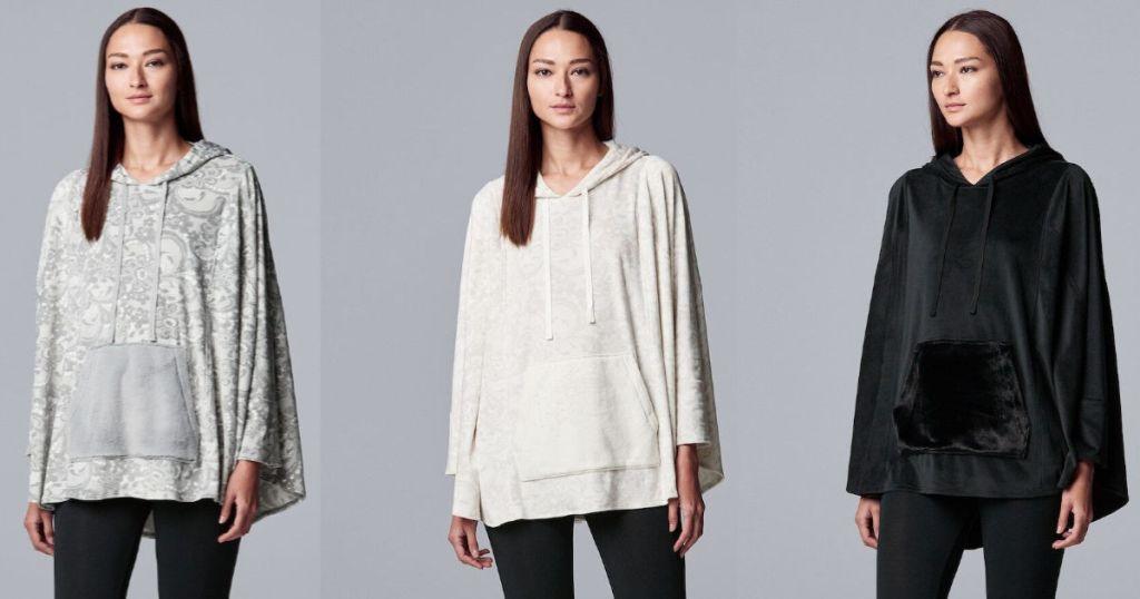 three women wearing black, white, and grey Women's Simply Vera Vera Wang Hooded Velour Sleep Poncho