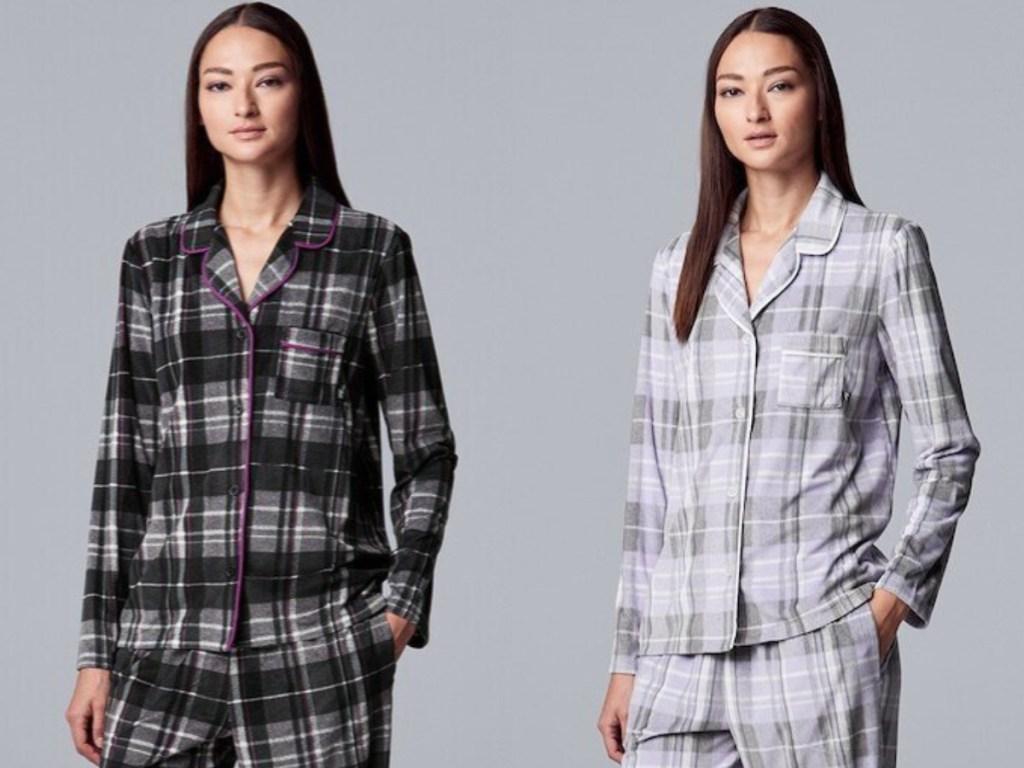black, purple, and grey plaid simply vera pajama set