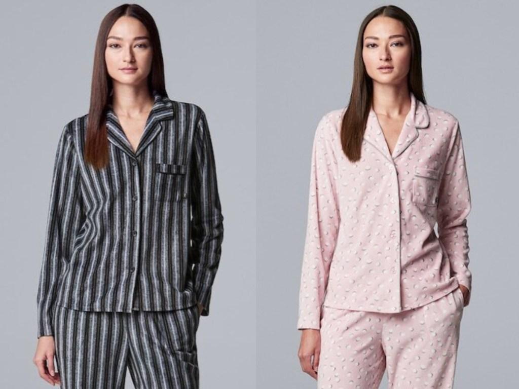 black and white striped and pink pajama set vera
