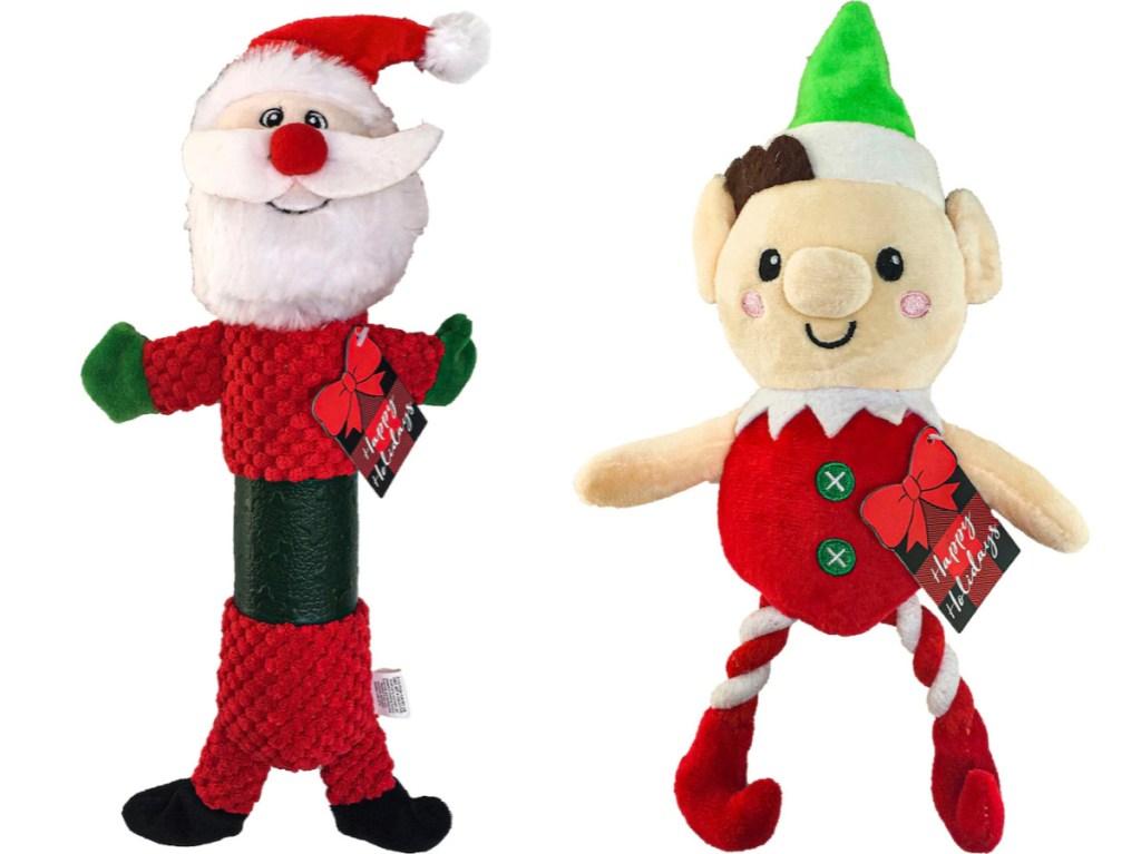 santa and elf plush dog toy