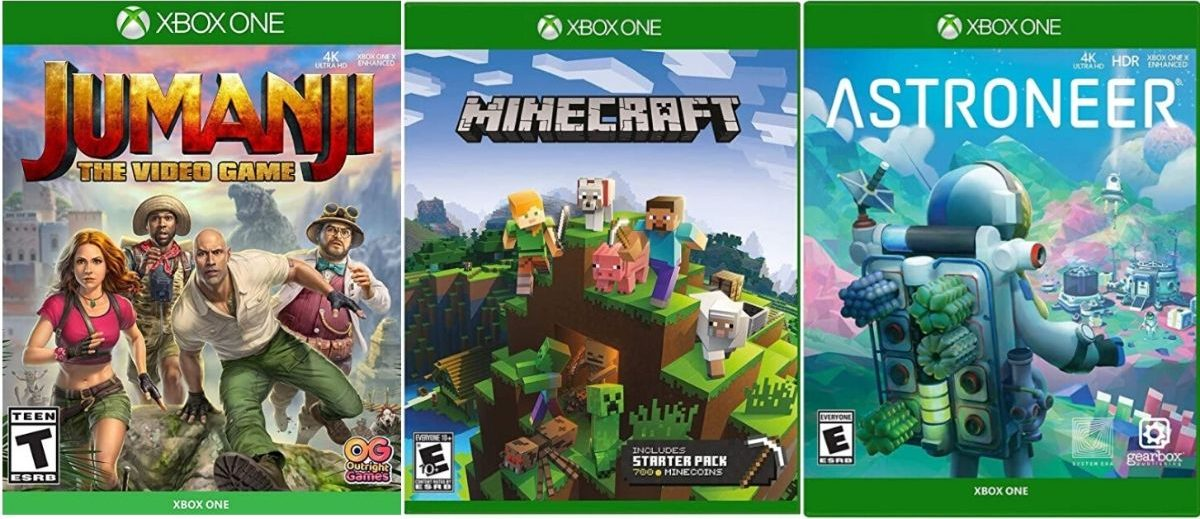 three xbox video games jumanji, minecraft, and astroneer