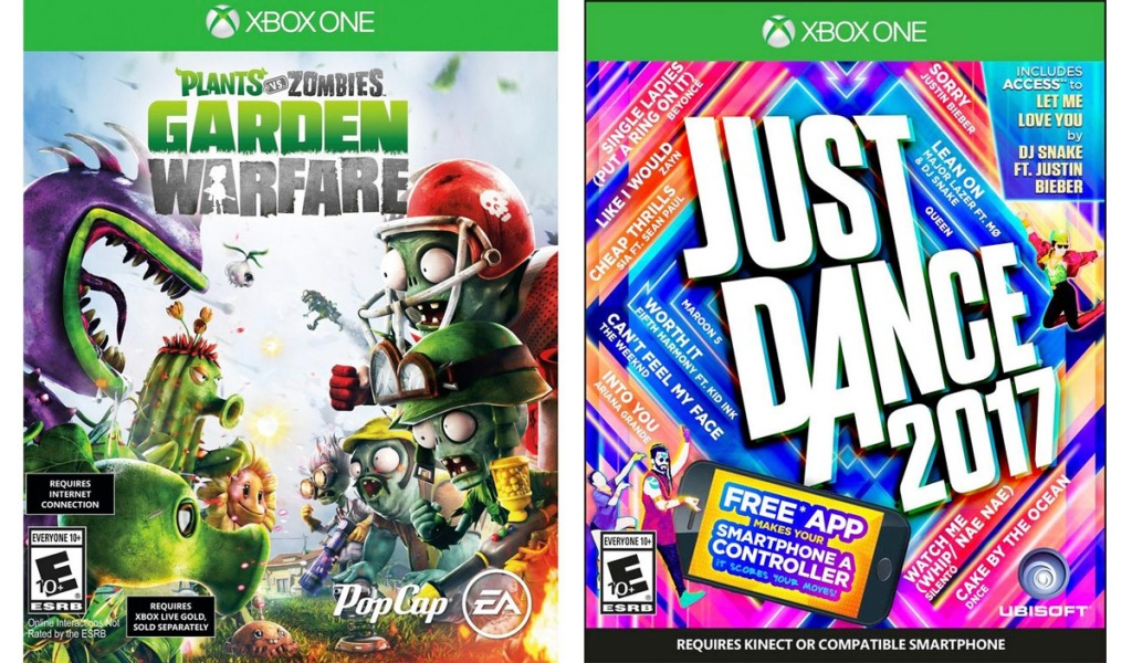 xbox game covers for plants vs zombies, and just dance 2017 games