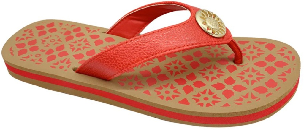 orange and brown patterned women's Yellow Box Macai Sandals