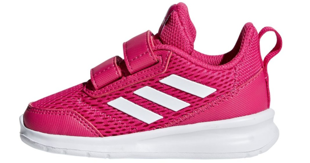 side view of hot pink and white adidas Toddler Girls Altarun Sneakers