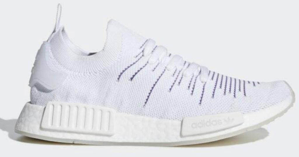 white adidas Women's Originals Primeknit Shoes with purple stitching