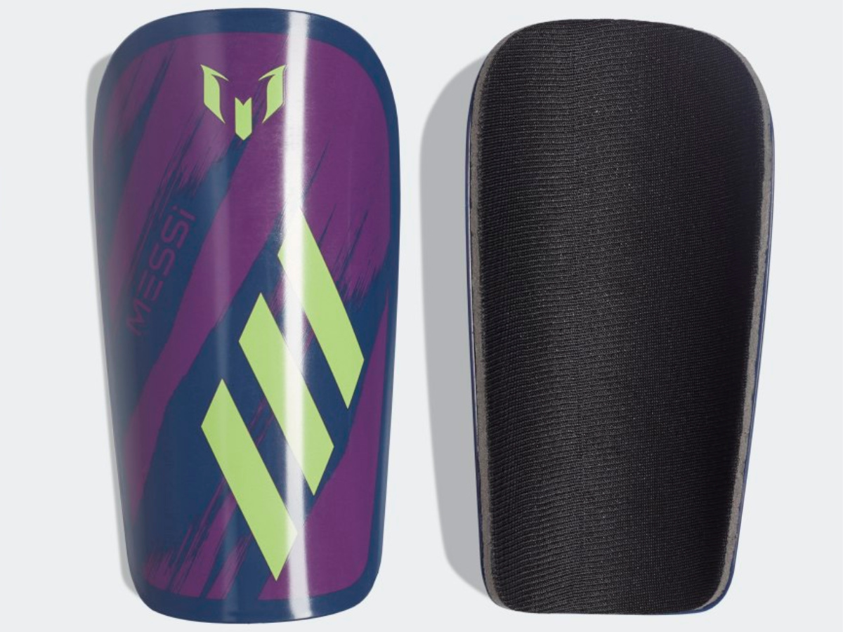 front and back view of purple and neon green shin guards