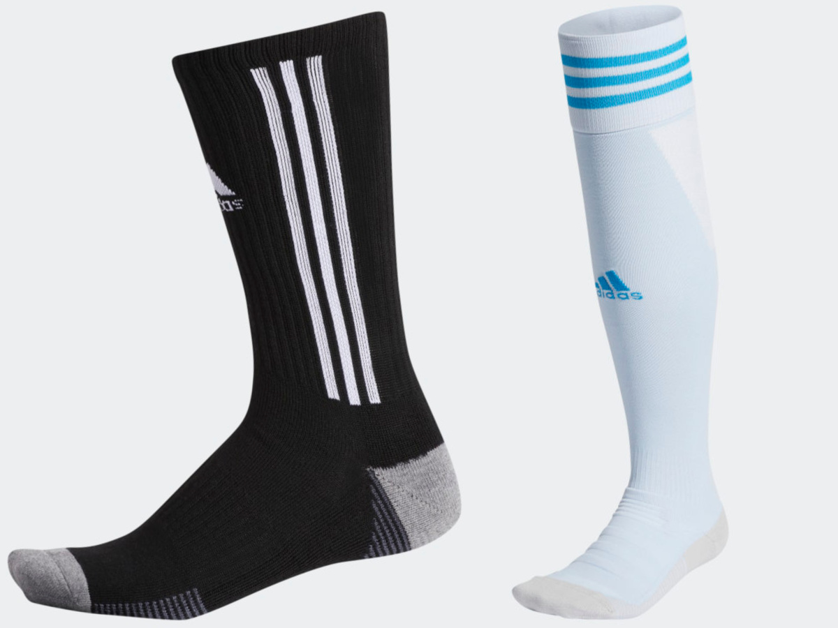 black and white adidas sock and blue and white adidas sock