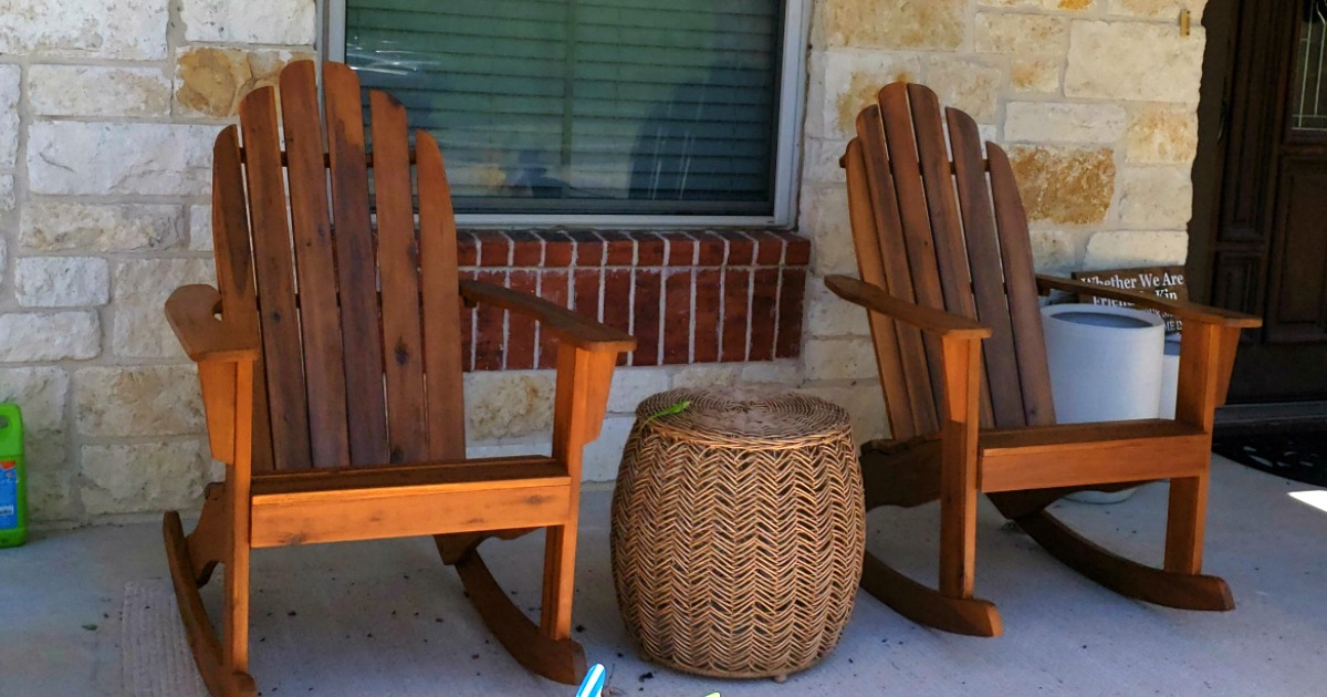 Adirondack rocking chairs on a porch