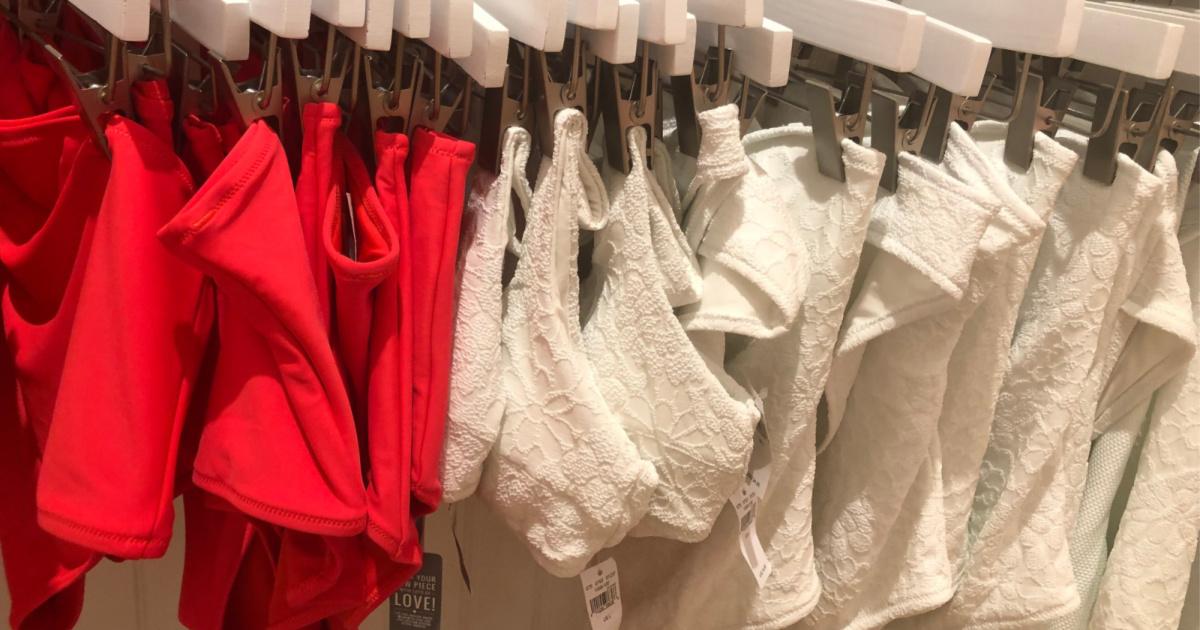 swimwear on a store wall display