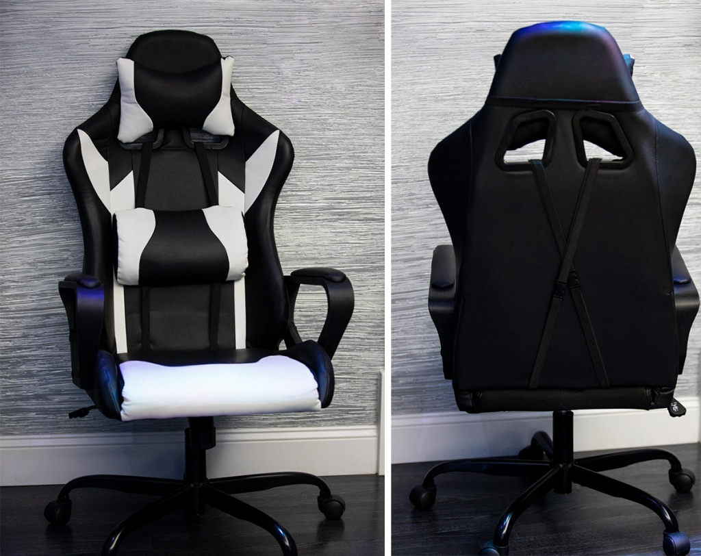 black and white gaming chair showing front and back sides
