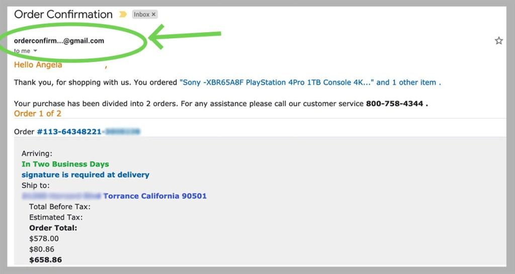 amazon scam email screencap