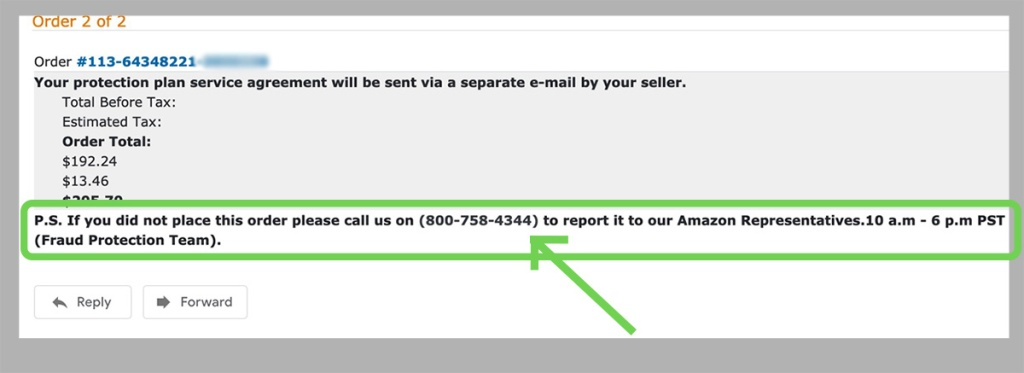 amazon scam email phone number