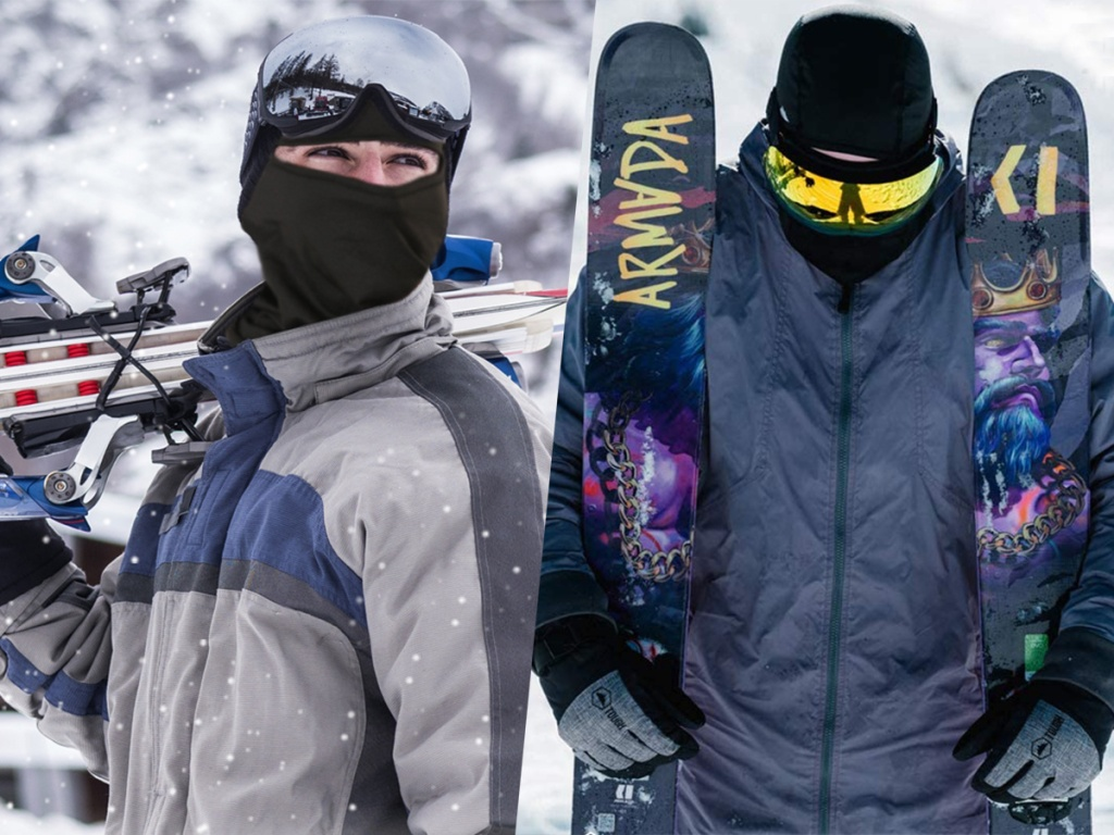 men holding snowboards wearing goggles and masks