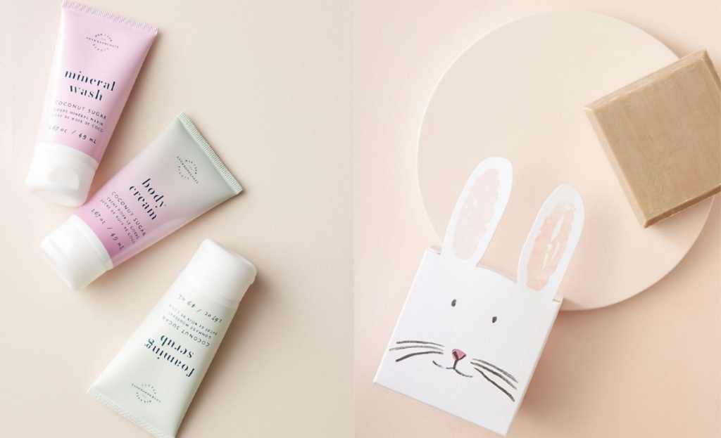 anthropologie beauty items body wash travel set and bunny soap
