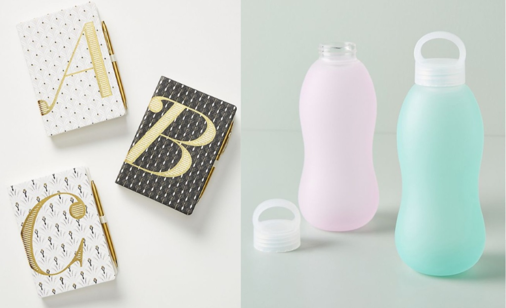 anthropologie journal and water bottles A B C journals and purple and mint water bottles