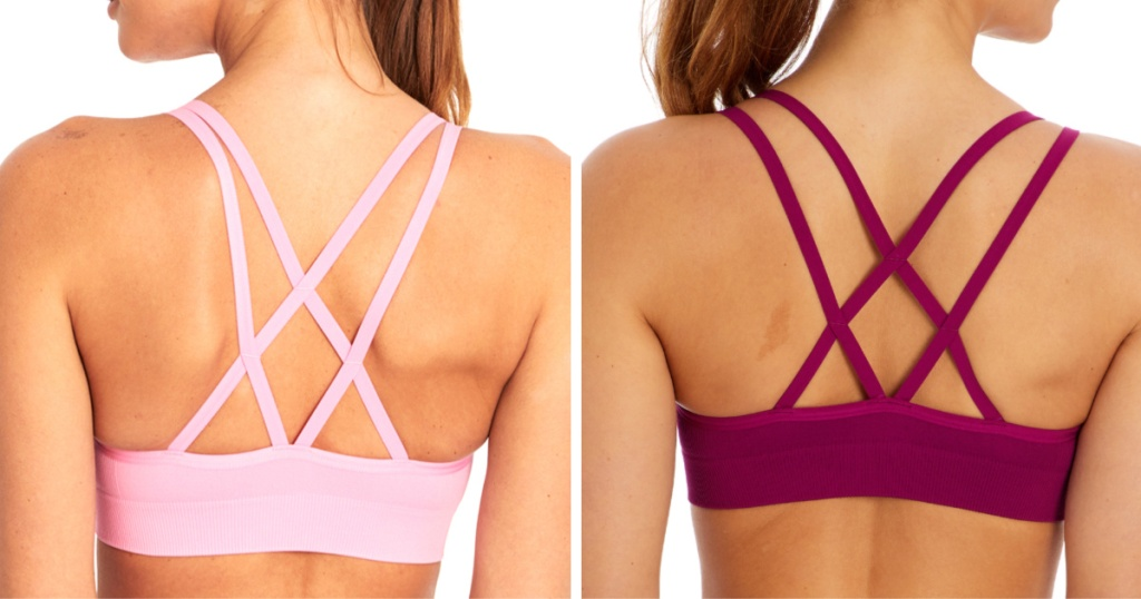 back views of women wearing pink and magenta bra