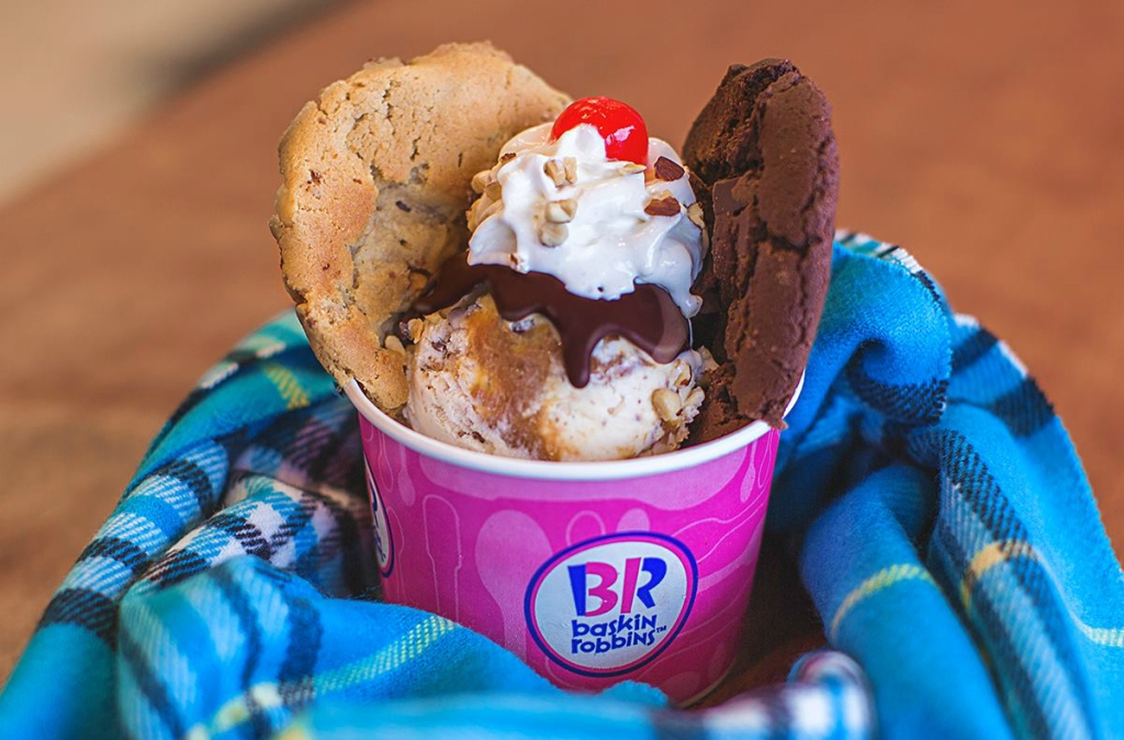 cup of baskin Robbins ice cream