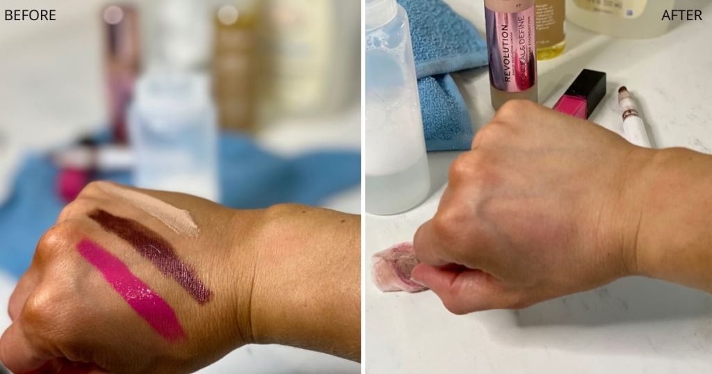 DIY makeup remover test showing makeup on hand next to a clean hand