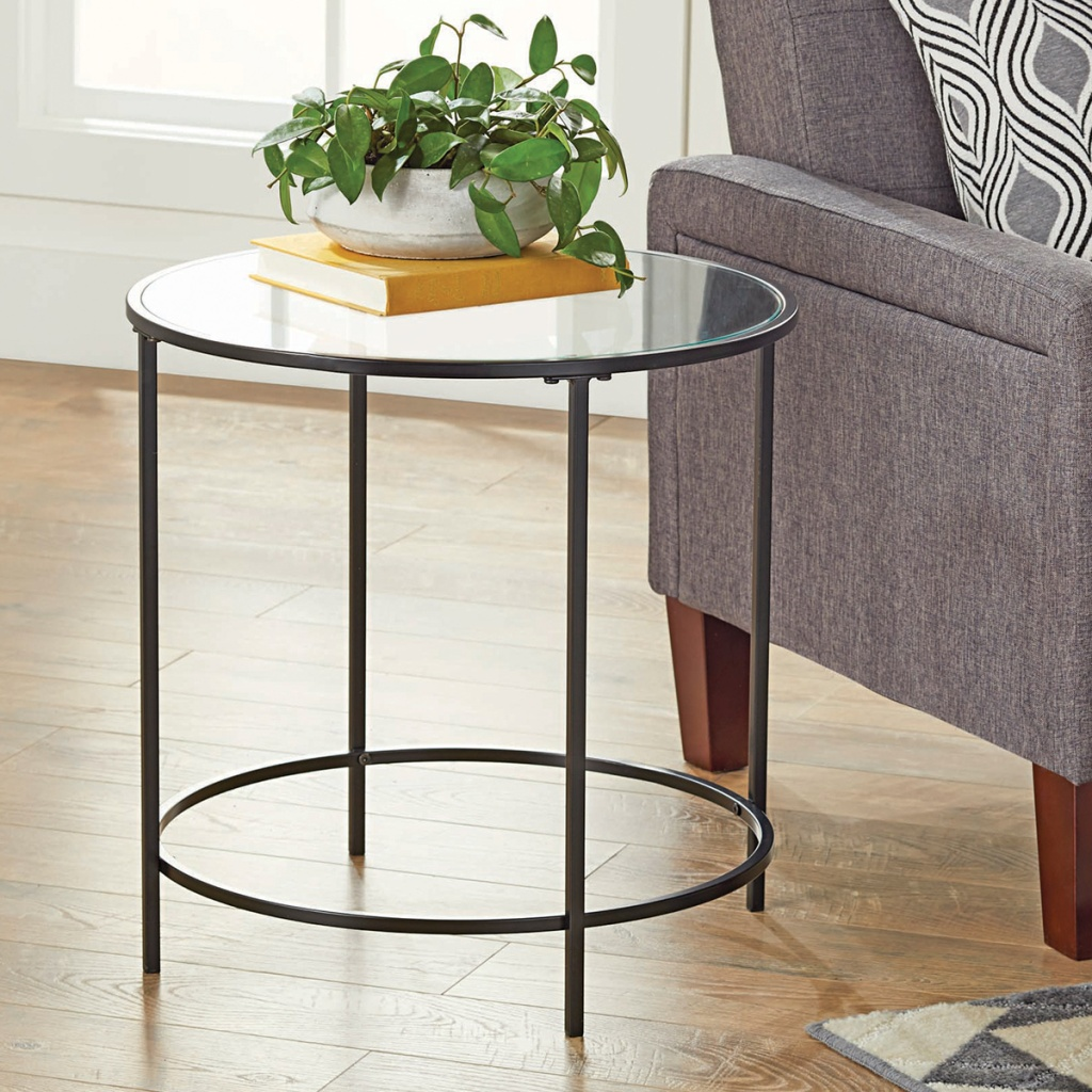 better homes and gardens glass top side table from walmart