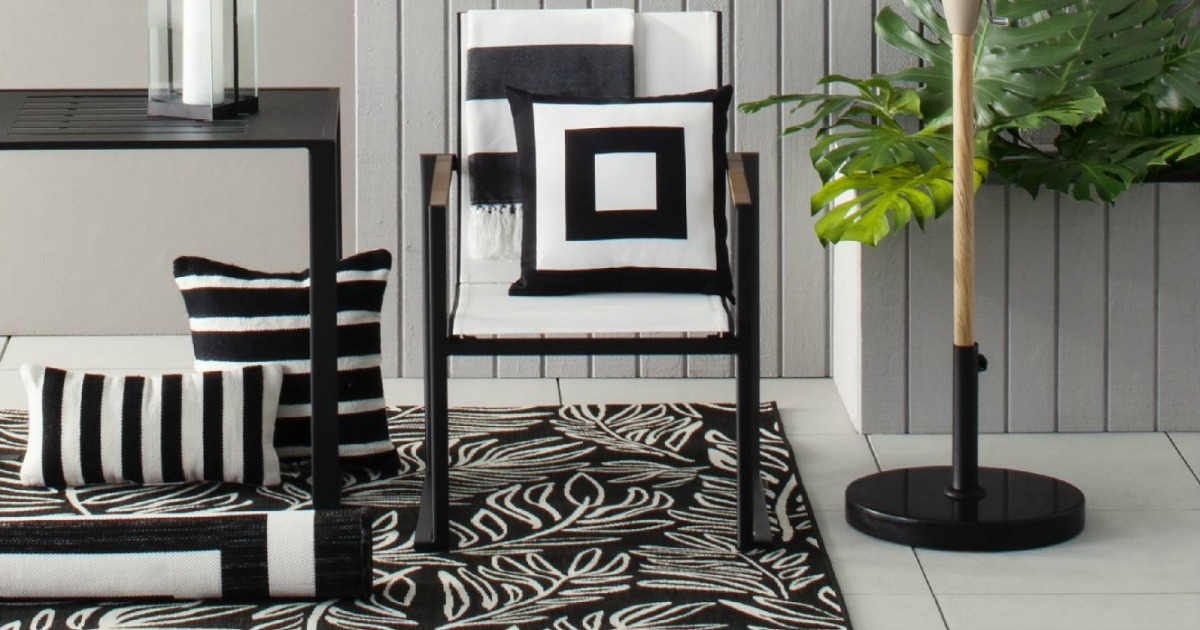 black and white rugs and furniture