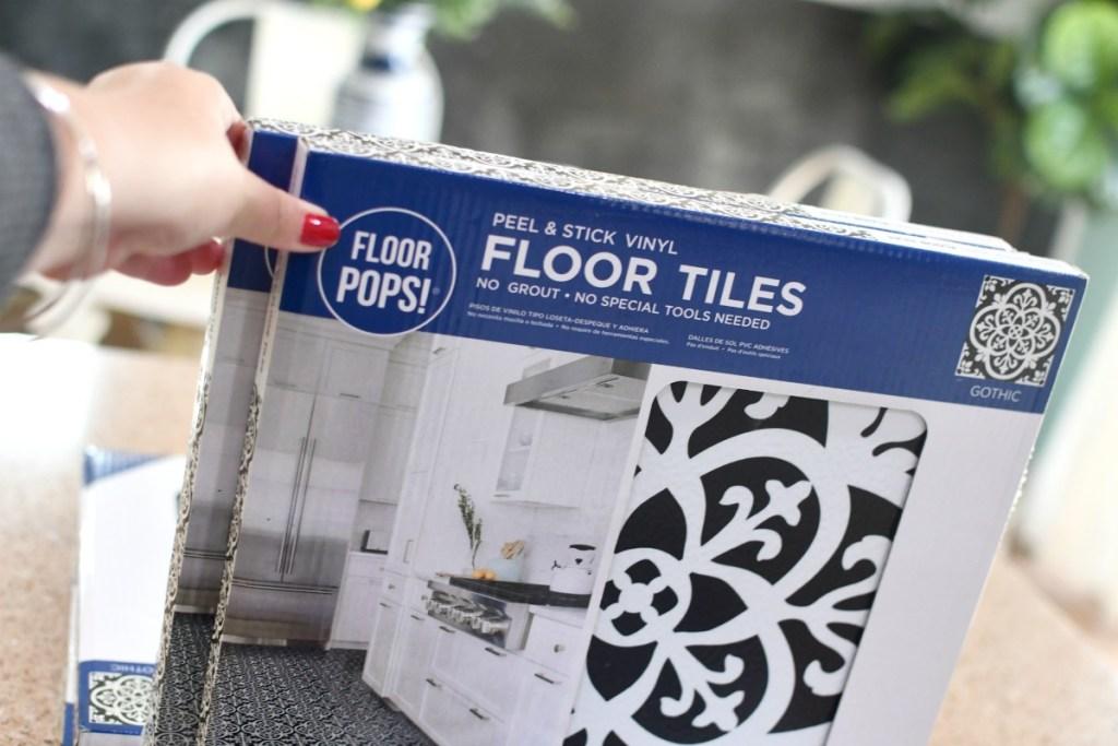 box of Floor Pops floor tiles