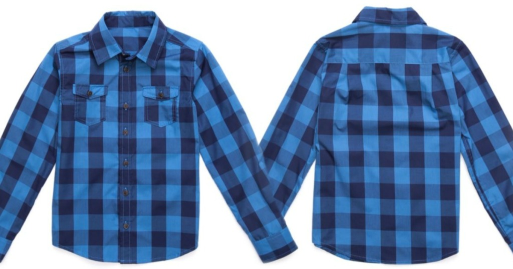 front and back view of blue plaid shirt