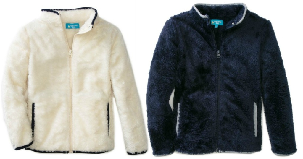 small fuzzy jacket in white and blue on white background
