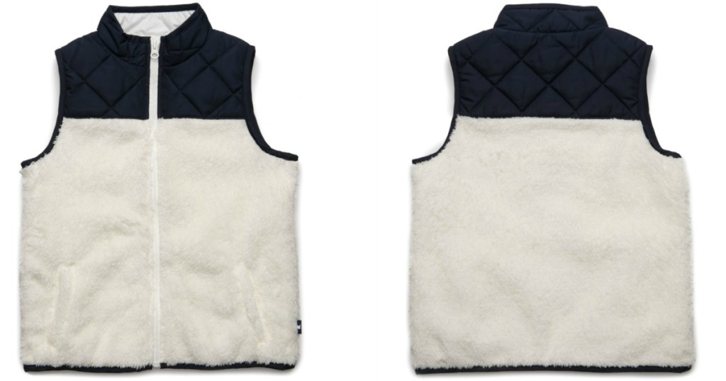 white background with vest that has navy on top and white on bottom
