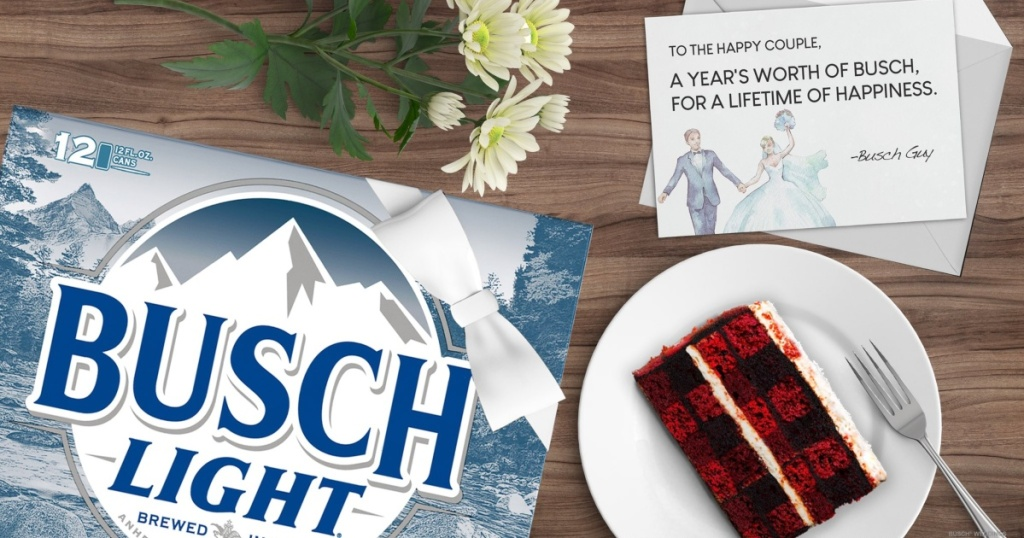 Busch beer, cake, and wedding card