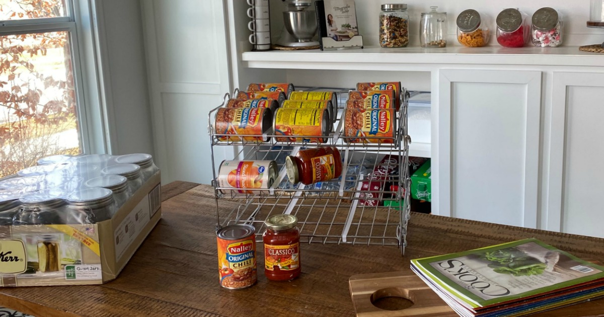 canned goods organizer sitting on counter in pantry
