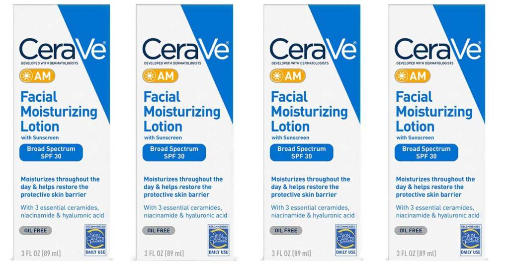 multiple boxes of cerave AM daily moisturizing lotion