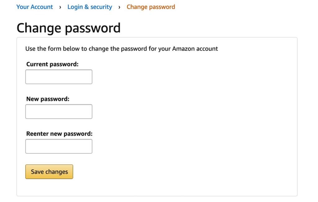 amazon change password screen
