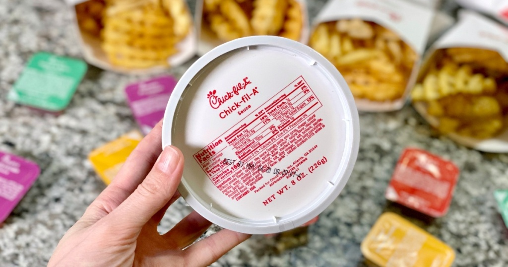 tub of Chick-fil-A Sauce and waffle fries