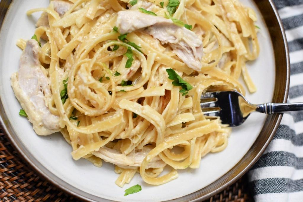 chicken fettuccine alfredo on a plate