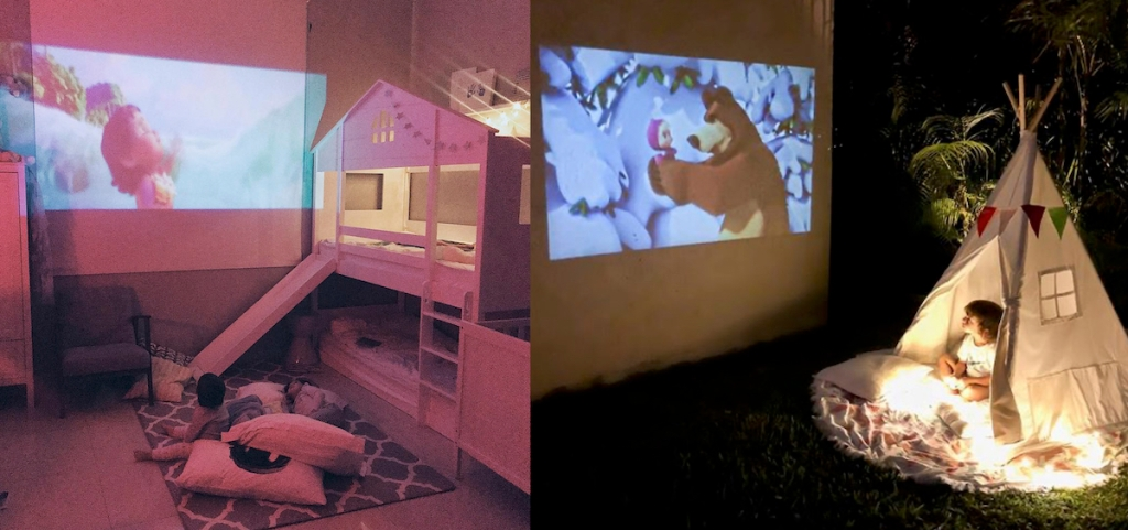side by side photos of kids watching tv shows on projector