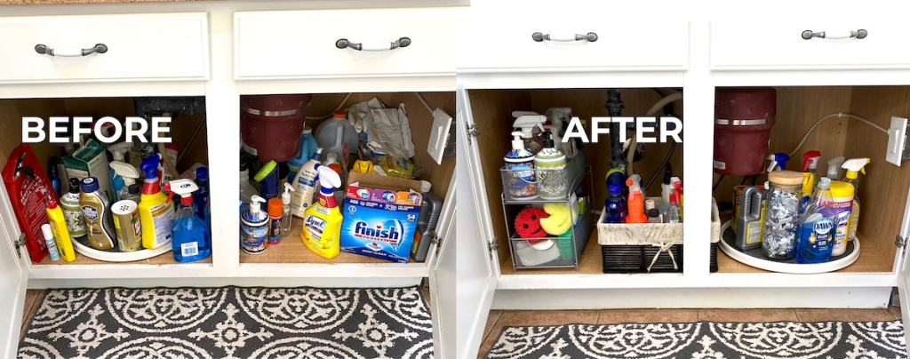 Before and after of cleaning supplies cabinets Messi versus organized