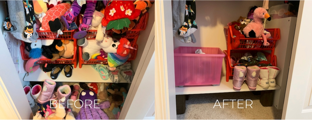 before and after of kids toy closet