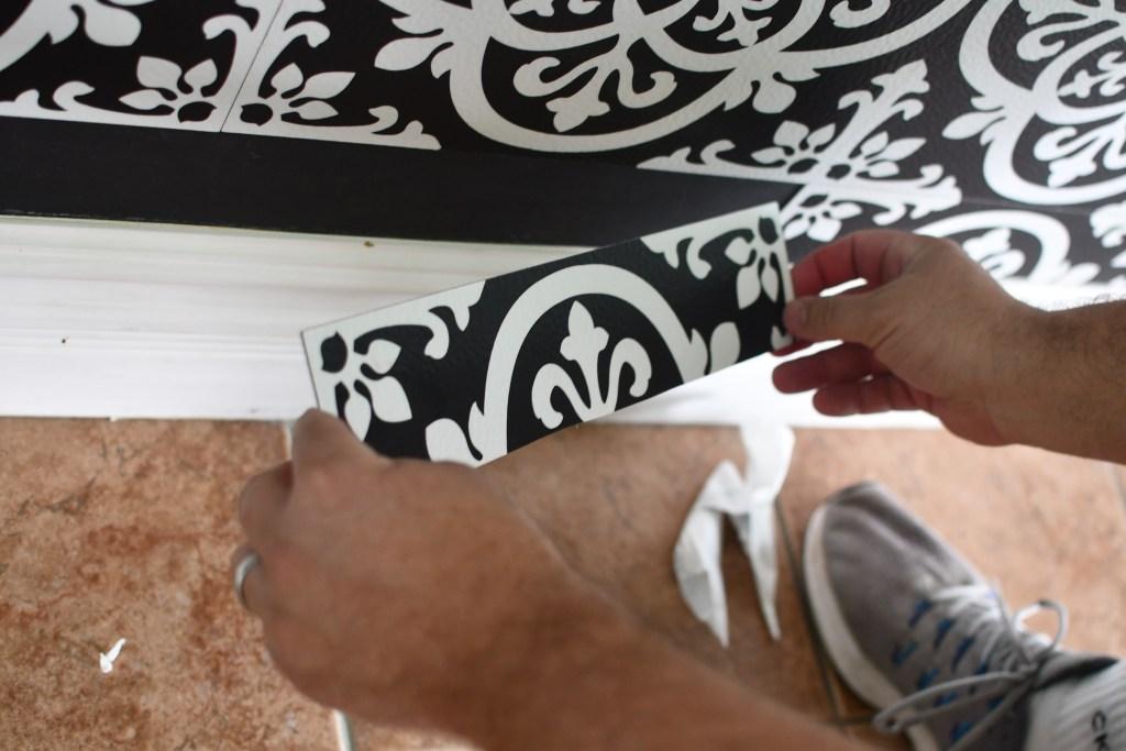 cutting Floor Pops vinyl tiles