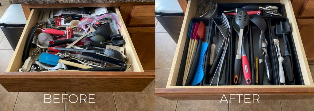 side by side before and after of kitchen drawers messy vs. organized