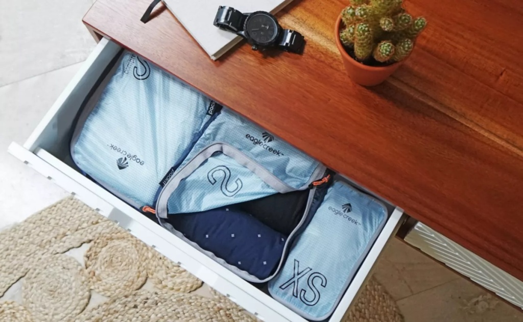 packing cubes inside a drawer
