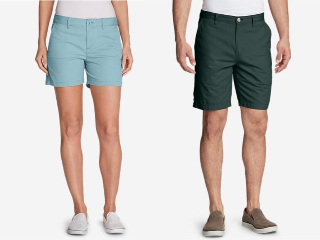 woman wearing blue shorts and guy wearing green shorts