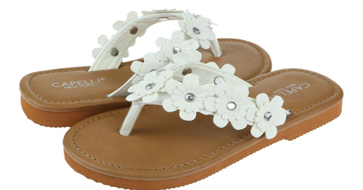 Girls flower thong flip flops