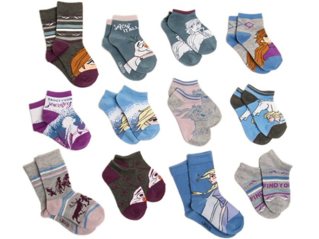 twelve pair of little girls socks princess themed
