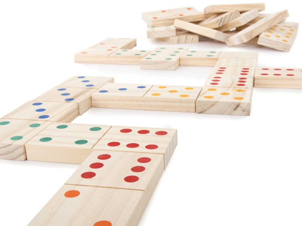 giant wooden dominos with colorful dots