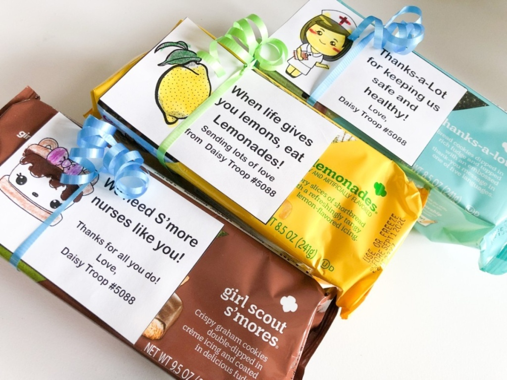 Girl Scout cookies with inspiring messages for health care workers