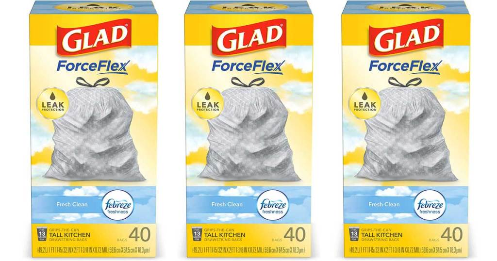 three boxes of glad forceflex with febreze