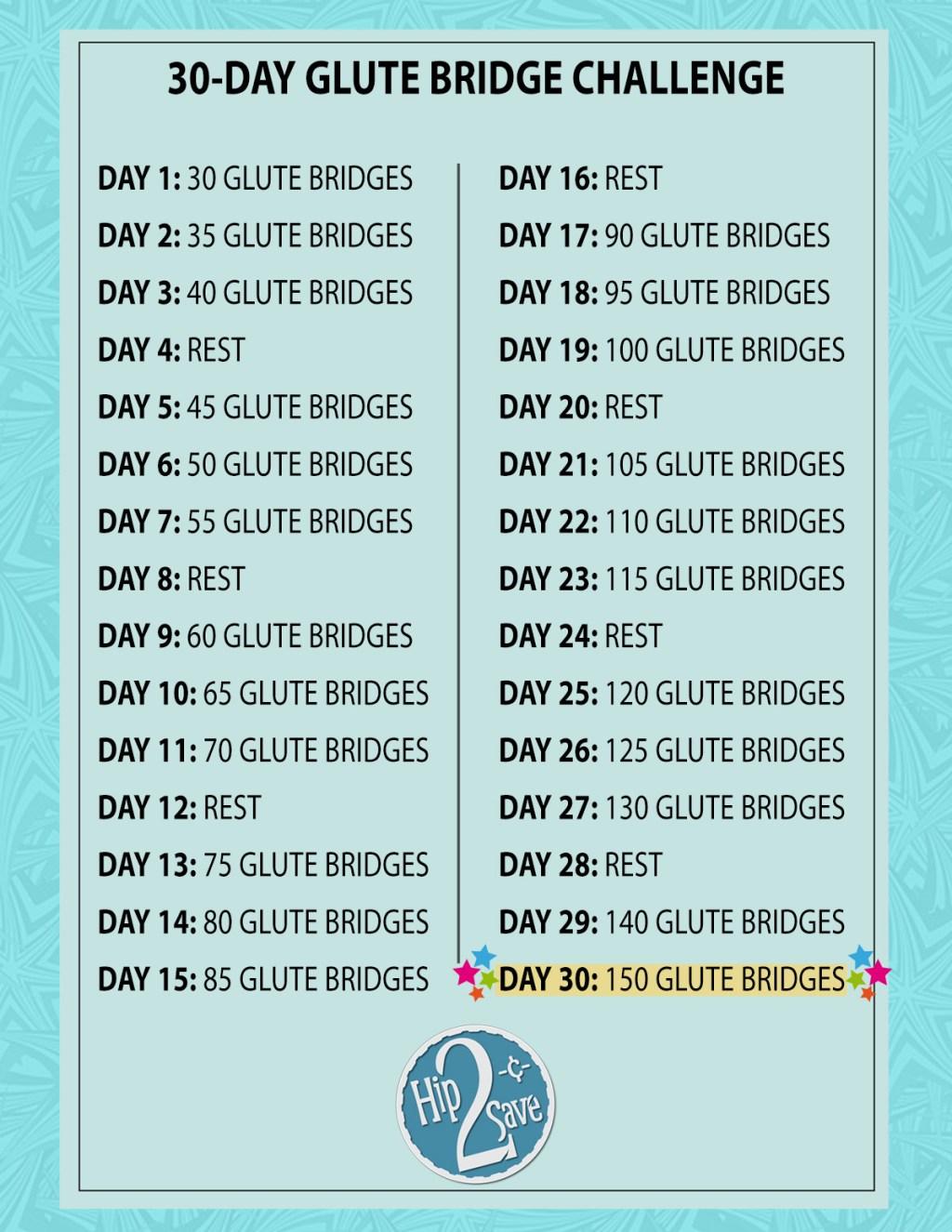 glute bridge challenge sheet