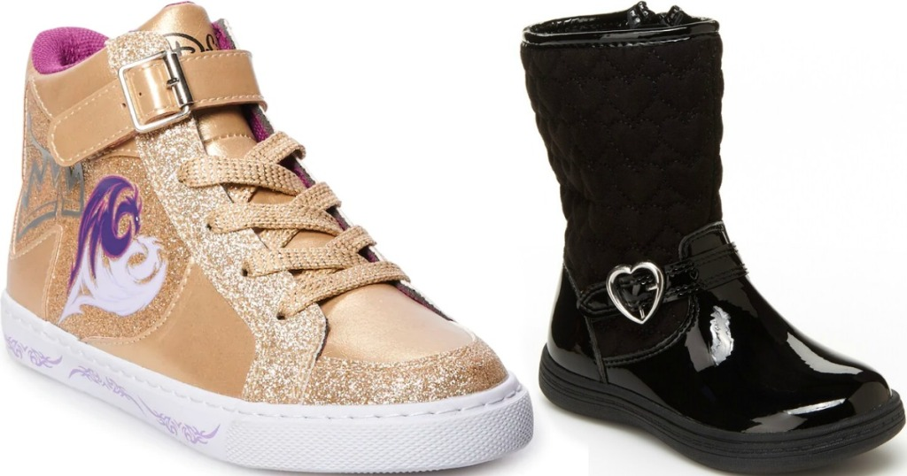 gold sneaker next to a black boot