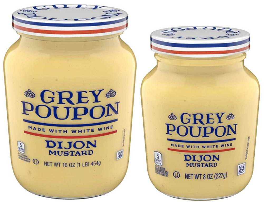 stock images of two jars of grey poupon