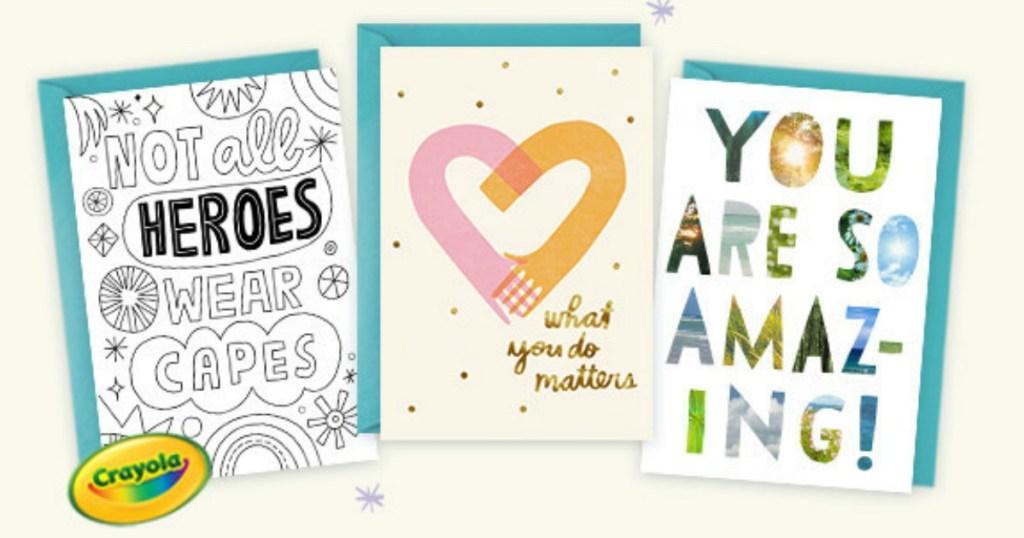 three cards with crayola logo on cream background
